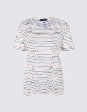 Beyaz Yuvarlak Yaka Kısa Kollu T-shirt