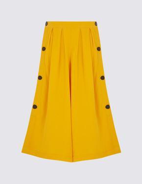 Sarı Keten Crop Pantolon