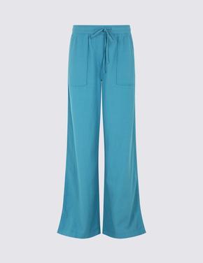 Mavi Keten Karışımlı Wide Leg Dökümlü Pantolon