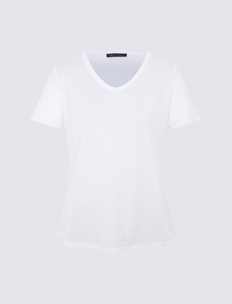 Beyaz Kısa Kollu V Yaka T-shirt