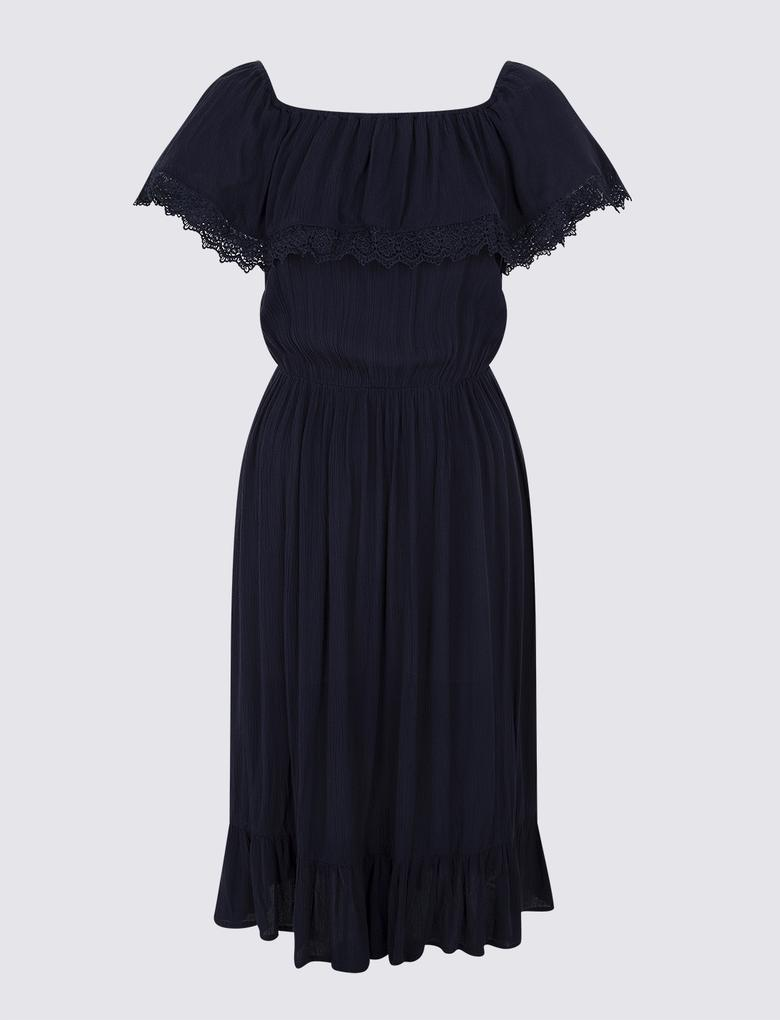 Lacivert Omuzları Açık Elbise