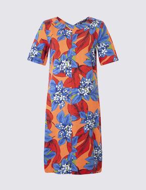 Keten Karışımlı Kısa Kollu Tunik Elbise
