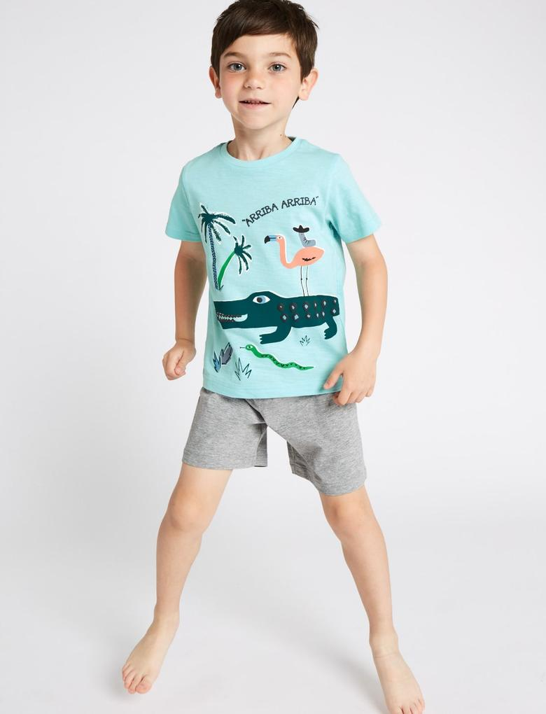 Erkek Çocuk Mavi 2'li Şortlu Pijama Takımı