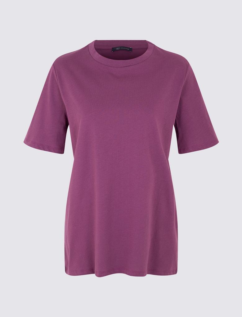 Kadın Mor Saf Pamuklu Kısa Kollu T-Shirt