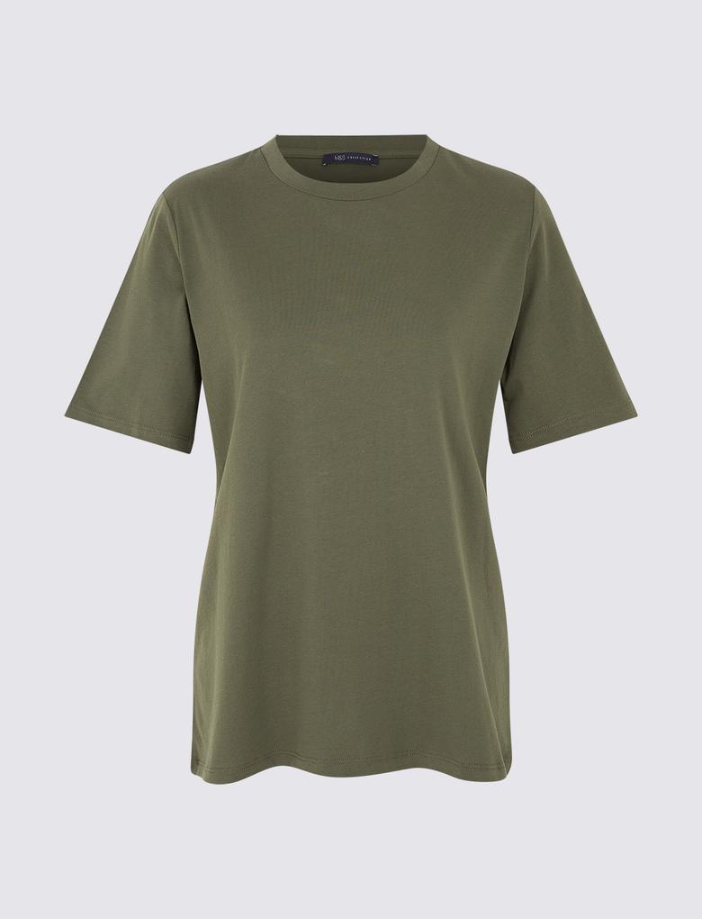 Yeşil Saf Pamuklu Kısa Kollu T-Shirt