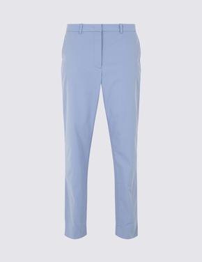Mavi Pamuklu Tapered Leg Chino Pantolon
