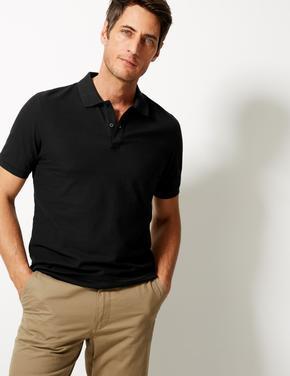 Siyah Saf Pamuklu Polo Yaka T-Shirt