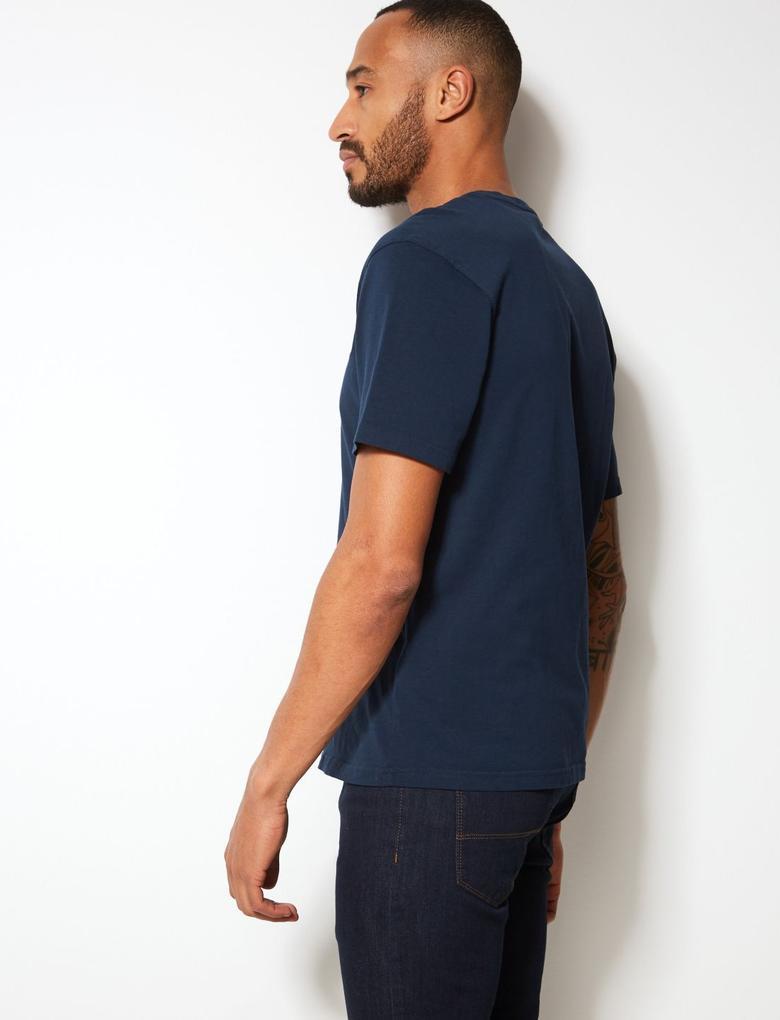 Lacivert Saf Pamuklu Sıfır Yaka T-Shirt