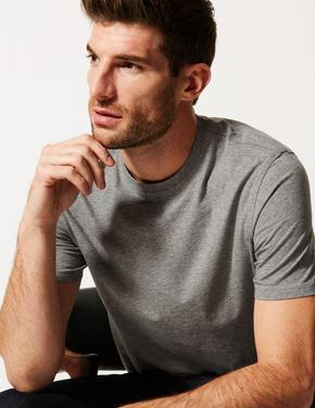 Gri Saf Pamuklu Sıfır Yaka T-Shirt
