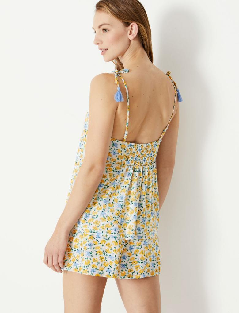 Kadın Sarı Çiçekli İnce Askılı Pijama Üstü