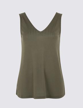 Yeşil V Yaka Kolsuz Bluz