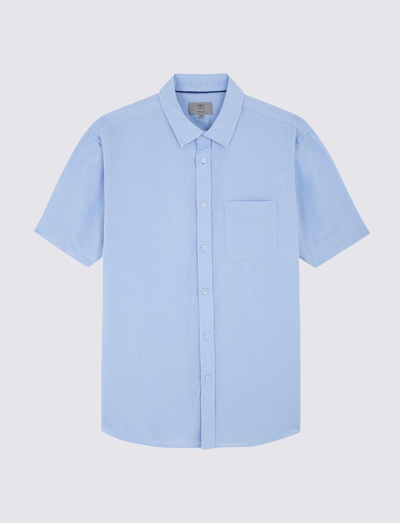 Erkek Mavi Kısa Kollu Keten Karışımlı Gömlek