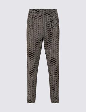 Kadın Siyah Geometrik Desenli Grazer Peg Pantolon