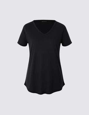 Siyah Kısa Kollu V Yaka T-shirt