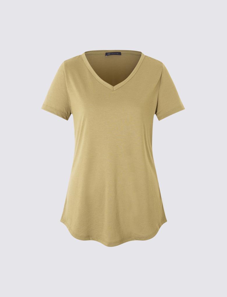 Kadın Yeşil Kısa Kollu V Yaka T-shirt