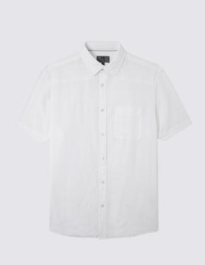 Kısa Kollu Keten Karışımlı Gömlek