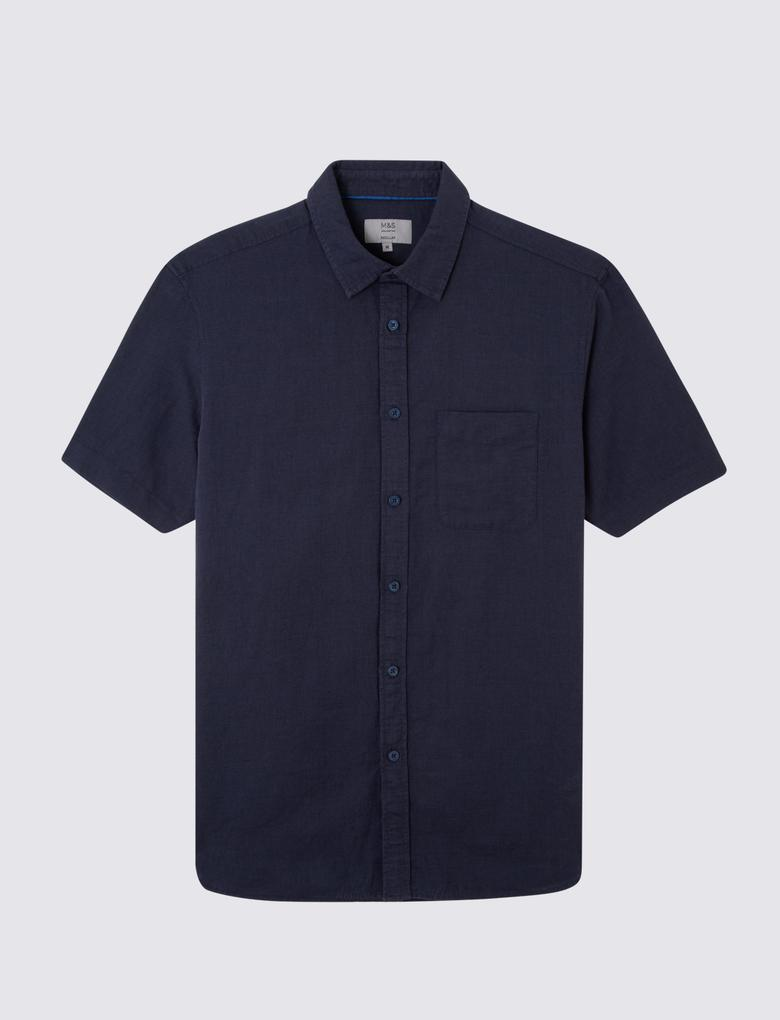 Erkek Lacivert Kısa Kollu Keten Karışımlı Gömlek
