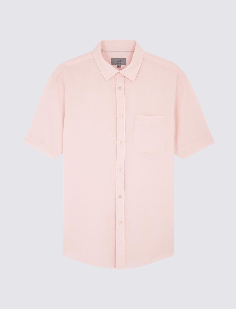 Erkek Pembe Kısa Kollu Keten Karışımlı Gömlek