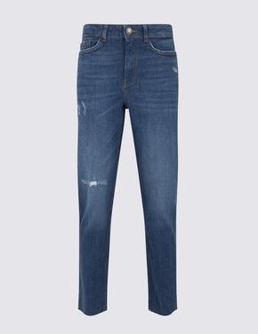 Yüksek Bel Straight Leg Cropped Jean Pantolon