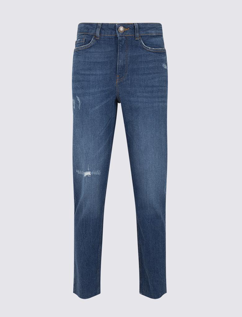 Lacivert Yüksek Bel Straight Leg Crop Jean Pantolon