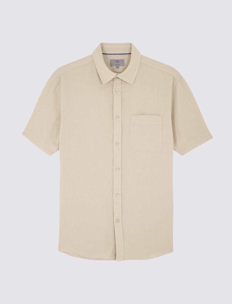 Erkek Bej Kısa Kollu Keten Karışımlı Gömlek