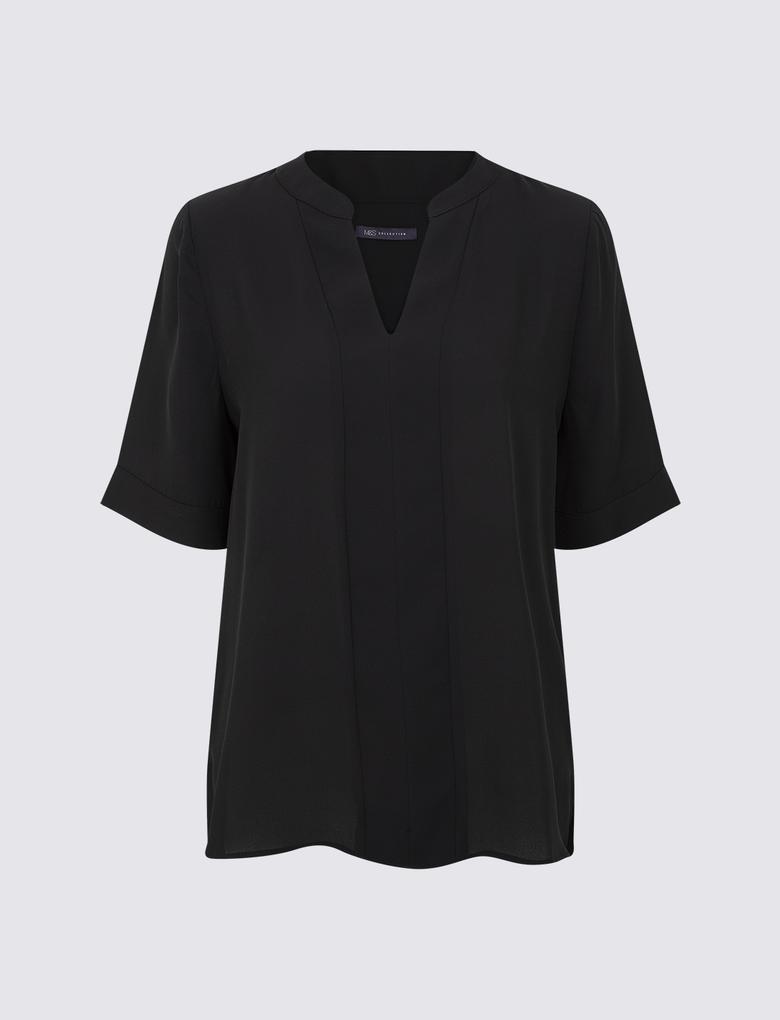Siyah V Yaka Kolsuz Bluz