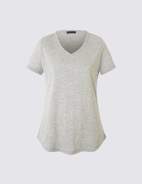 Gri Kısa Kollu V Yaka T-shirt