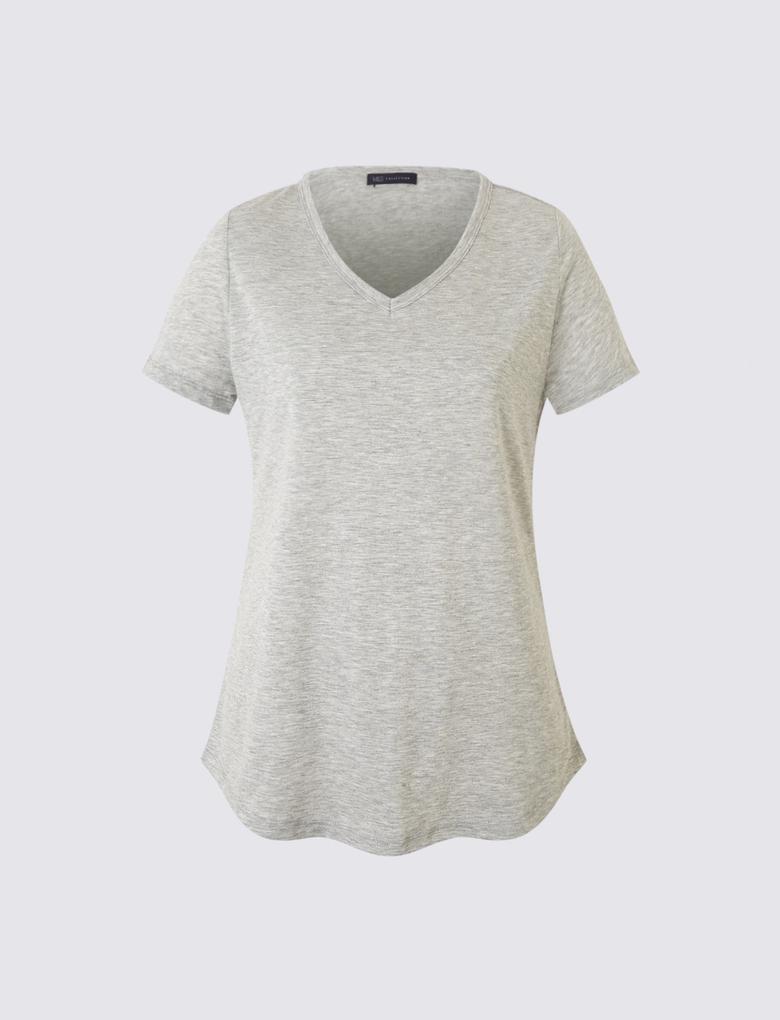 Kadın Gri Kısa Kollu V Yaka T-shirt