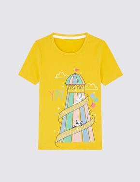 Saf Pamuklu Desenli T-shirt