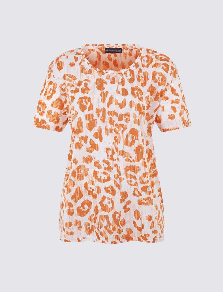 Kadın Pembe Yuvarlak Yaka Kısa Kollu T-shirt
