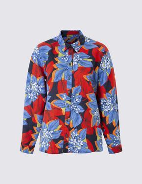 Keten Karışımlı Çiçekli Bluz