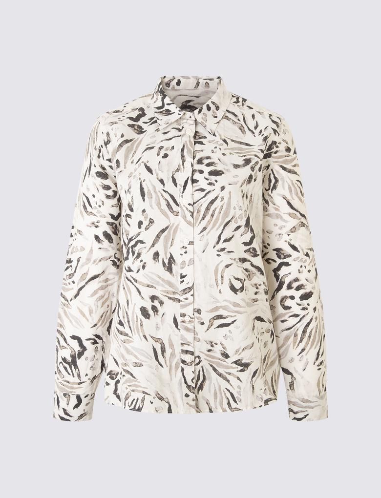 Keten Karışımlı Desenli Bluz