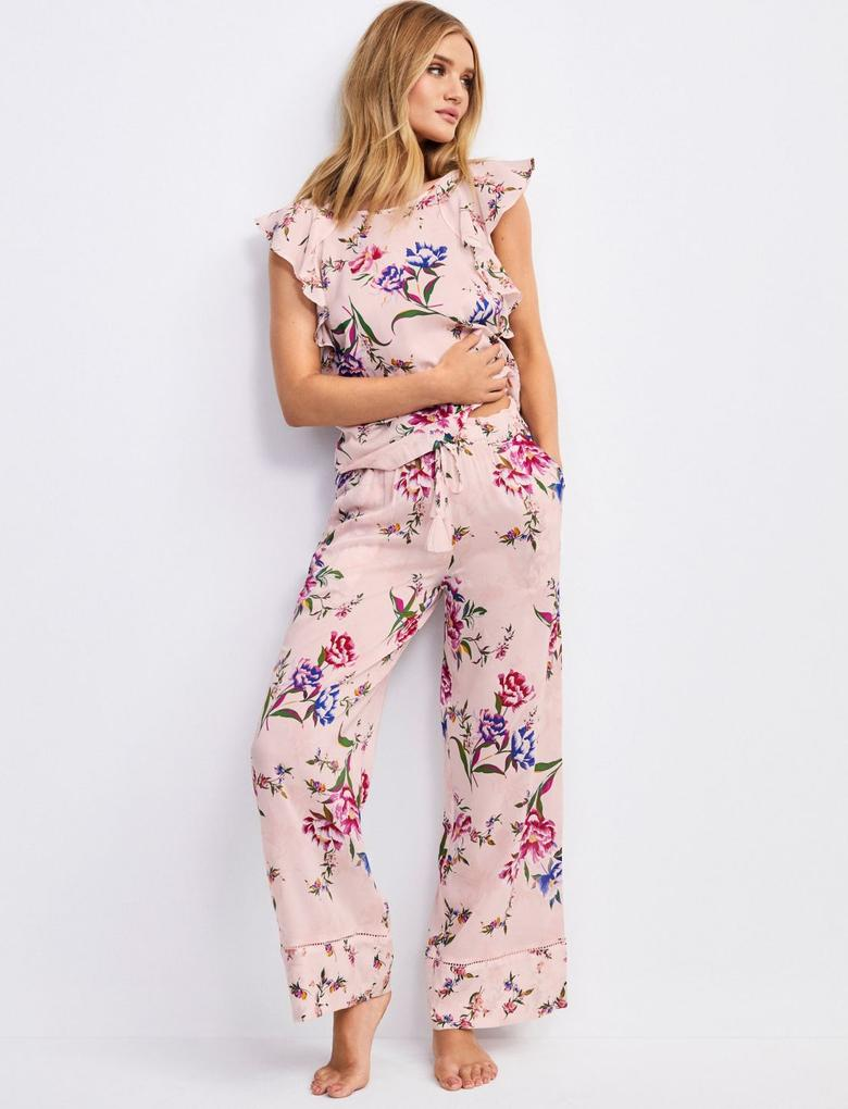 Pembe Çiçek Desenli Pijama Üstü