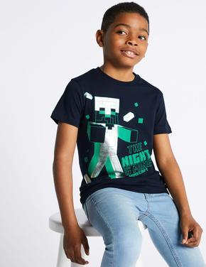 Minecraft Baskılı T-shirt