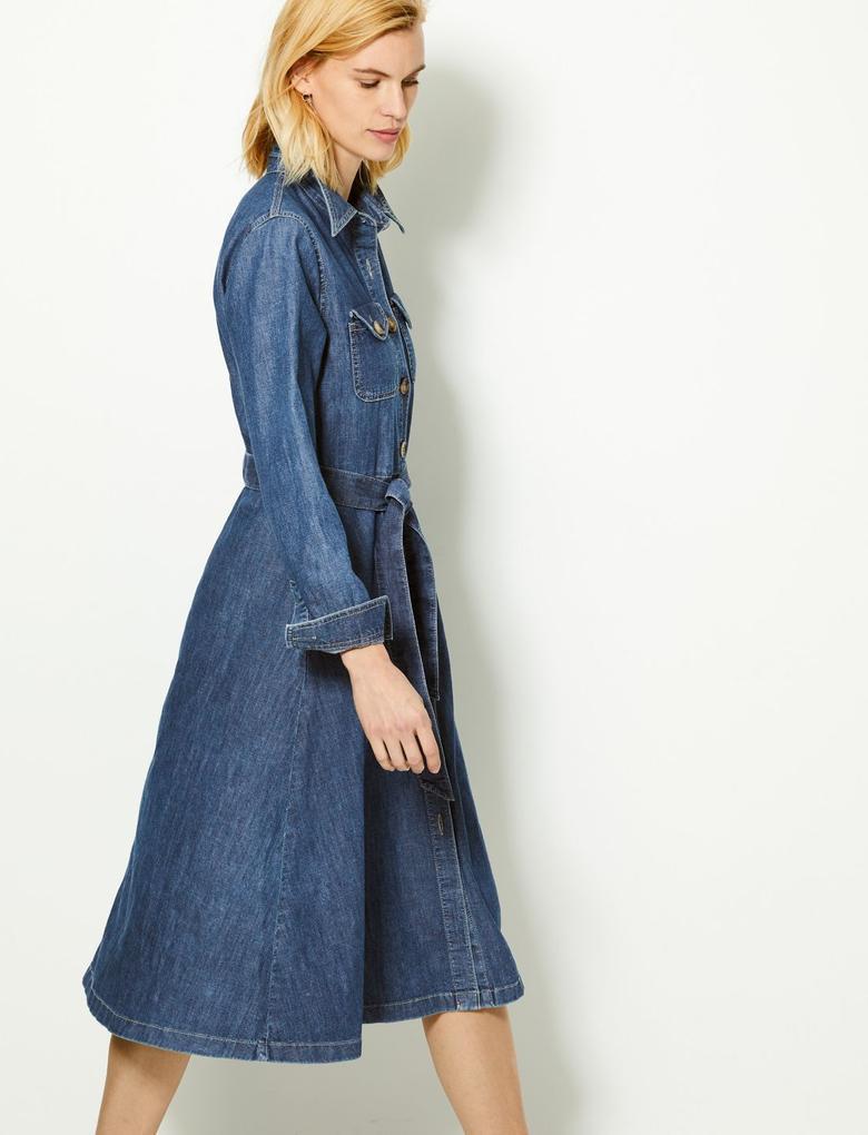 Denim Midi Gömlek Elbise
