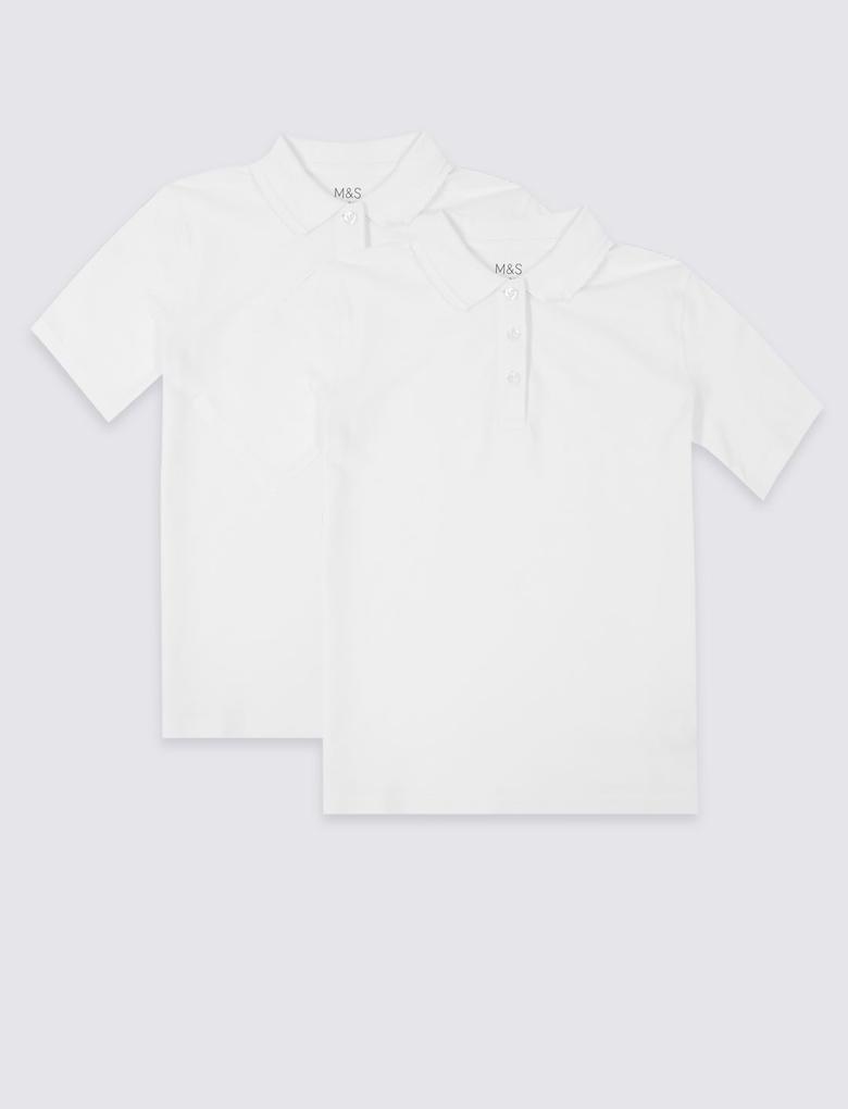 Kız Çocuk Beyaz 2'li Saf Pamuklu Polo Yaka T-Shirt