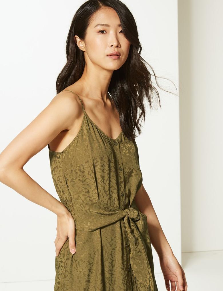 Kadın Yeşil Jakarlı Midi Elbise