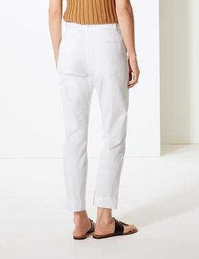 Beyaz Pamuklu Tapered Leg Chino Pantolon
