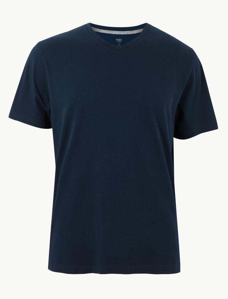 Lacivert Pamuklu V-Yaka T-Shirt