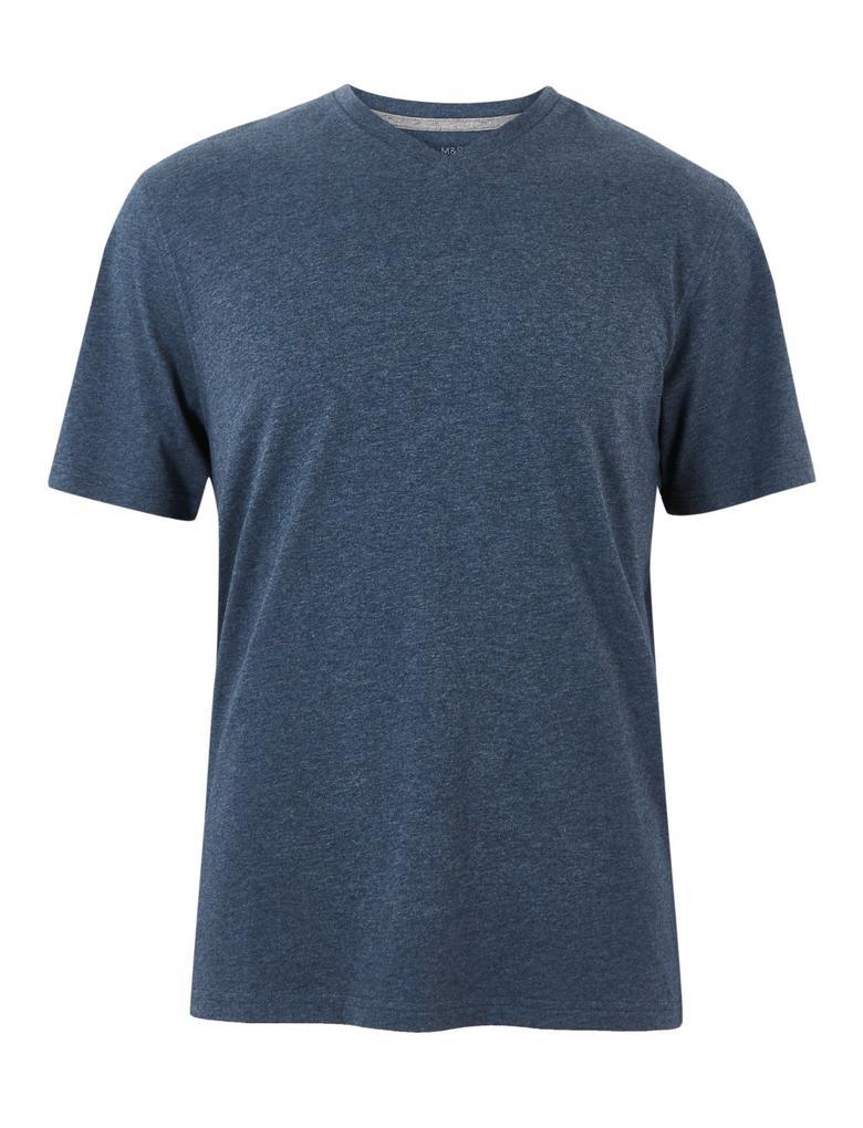 Mavi Pamuklu V-Yaka T-Shirt