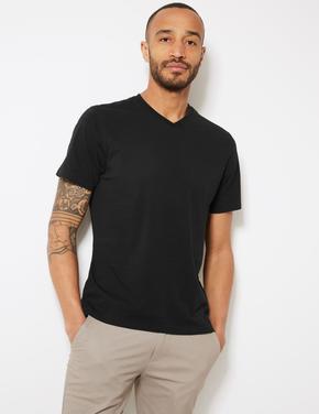 Siyah Pamuklu V-Yaka T-Shirt