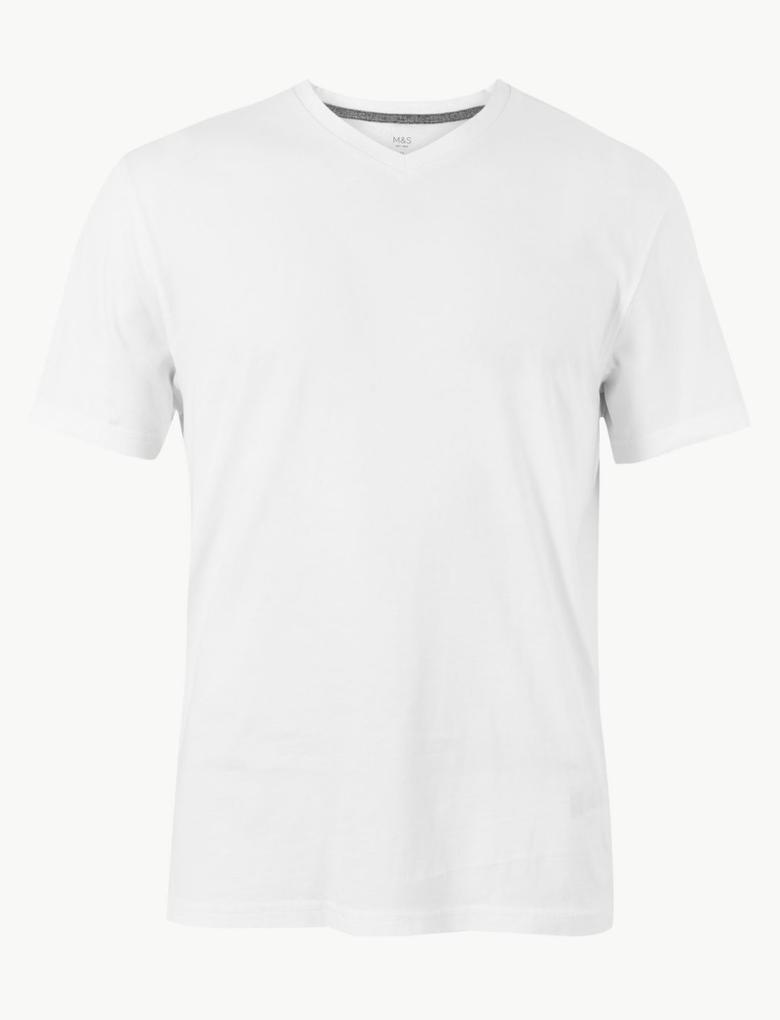 Pamuklu V-Yaka T-Shirt