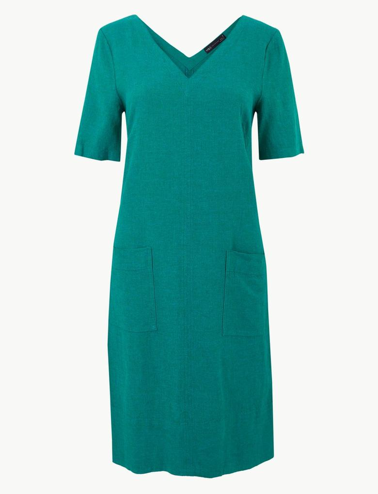 Yeşil Keten Shift Elbise