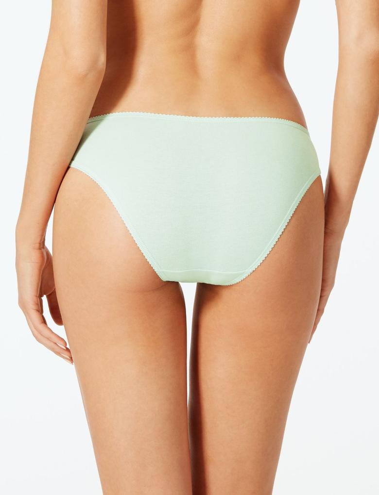 Bej 5'li Louisa Dantelli Bikini Külot Seti