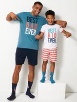 Best Dad Ever Baskılı Şortlu Pijama Takımı