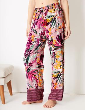 Tropikal Desenli Pijama Altı
