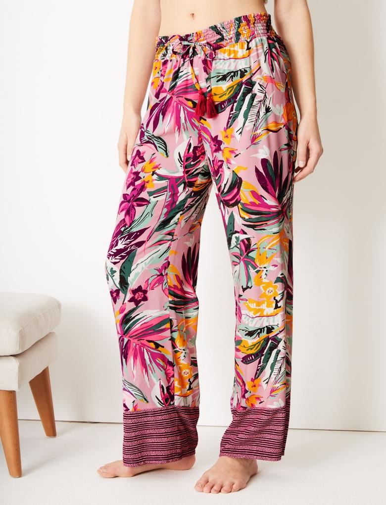 Mor Tropikal Desenli Pijama Altı