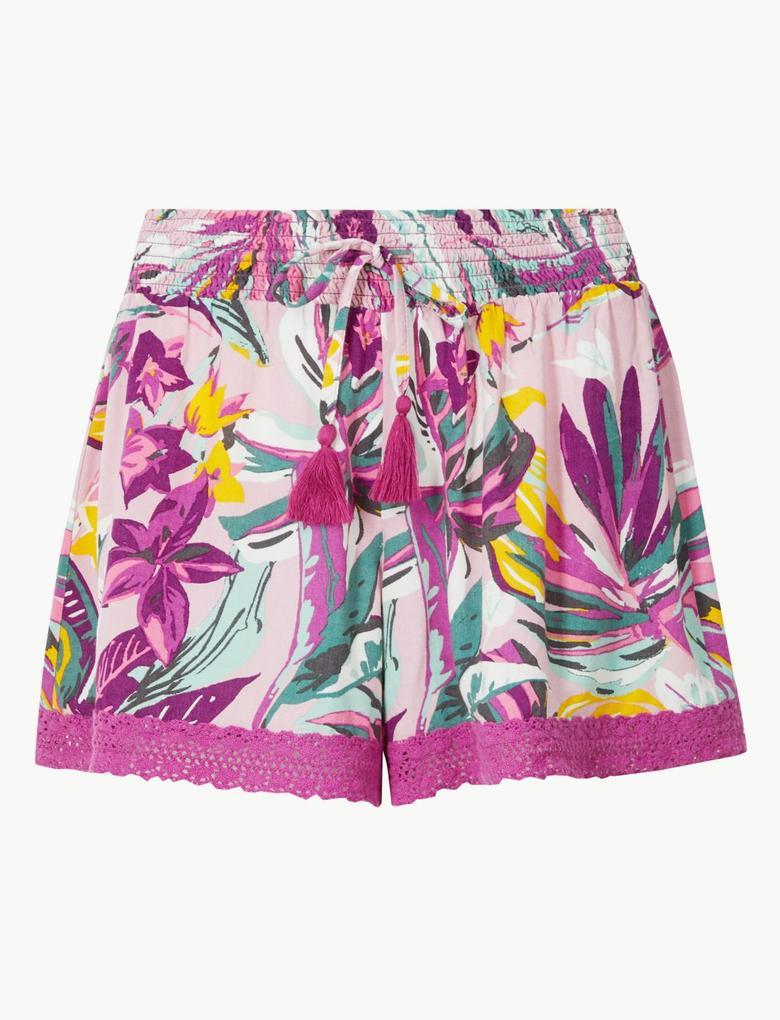 Tropikal Desenli Şort Pijama Altı