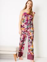 Mor Tropikal Desenli Askılı Pijama Üstü