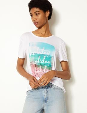 Beyaz Relaxed Fit Baskılı Kısa Kollu T-Shirt